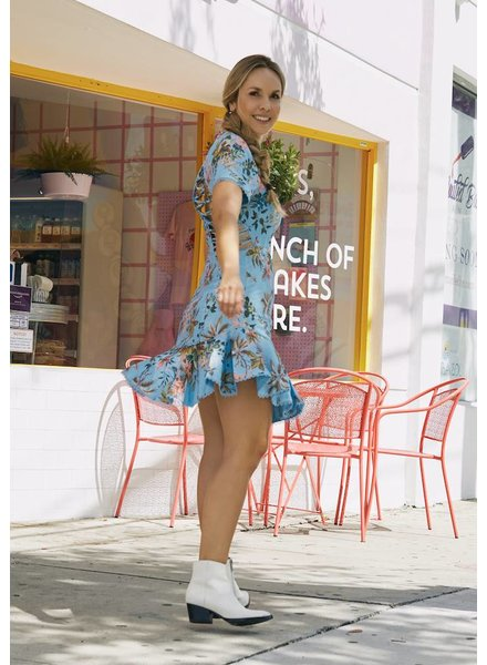 Emerging Designers Lili Blue Floral Swing Dress with Back Detail