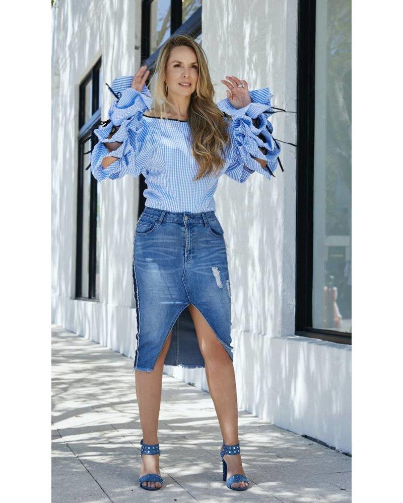 Emerging Designers BLOUSE - Henriqueta Blue Gingham Long Sleeve