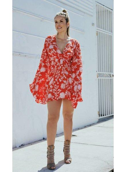 Emerging Designers Caro Long Sleeve Floral Dress