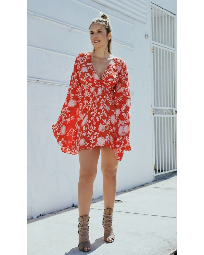 Emerging Designers Caro Long Sleeve Floral Dress