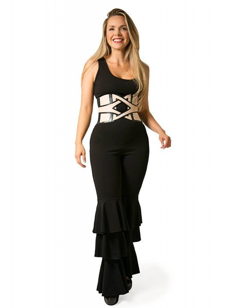 60a18197cf4af5 Emerging Designers Laila Black Jumpsuit With Ruffles