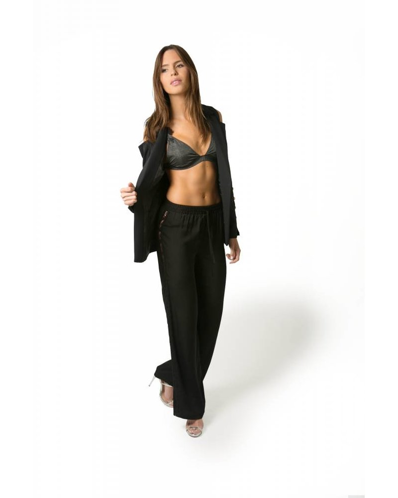 Emerging Designers PANT- Bia Black Chiffon with Lace On The Sides