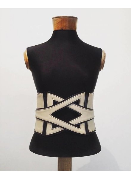 Laura Beige and Black Leather Corset