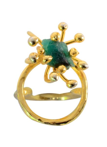 Tantra Double Pistilo Circle Ring with Small Emerald