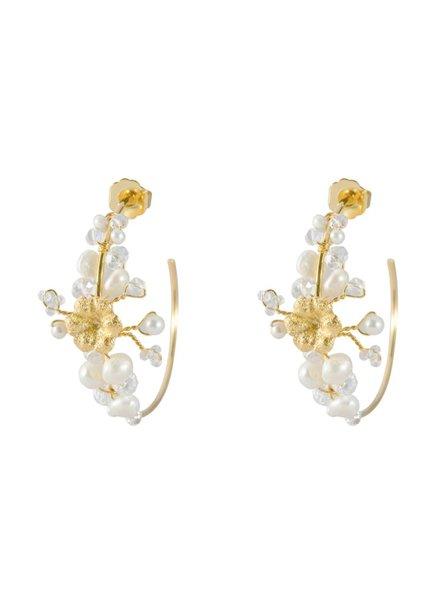 Tantra Marie Pearl & Flower Earrings