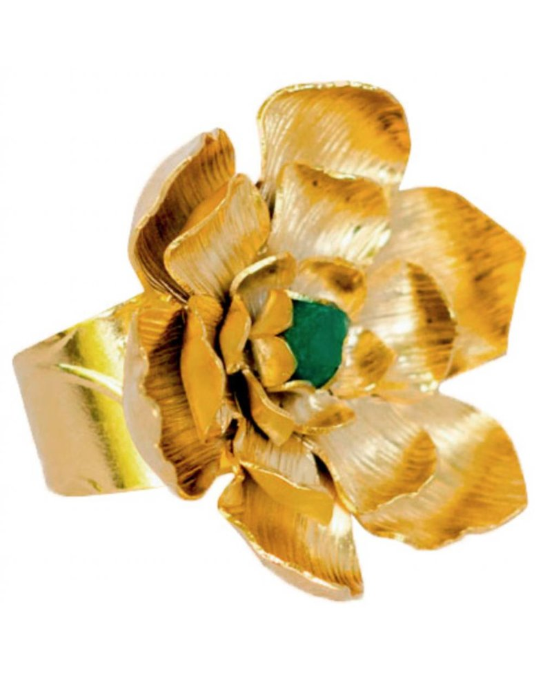 Tantra Lotto Flower with Emerald Ring
