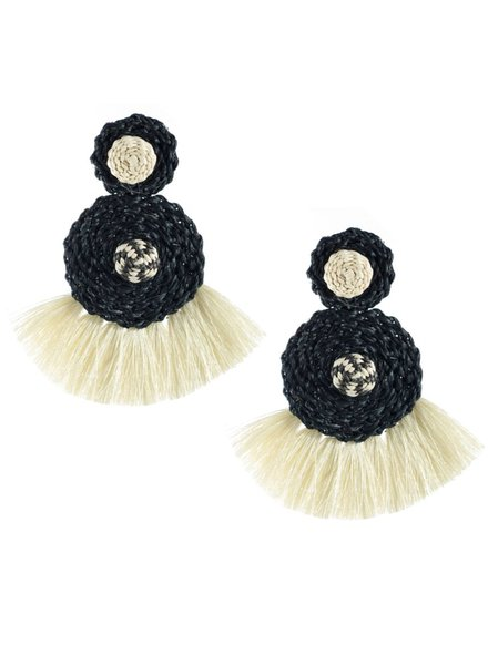 Tantra Juliana Black And Beige Iraca Woven Fringe Earrings