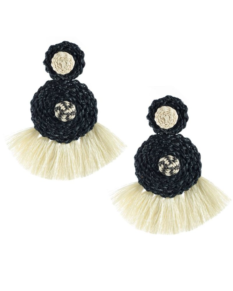 Tantra Juliana Black And Beige Iraca Woven Fringe Earrings