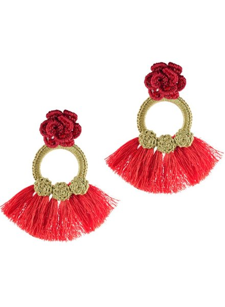 Tantra Teresa Knit Rose Fringe Earrings