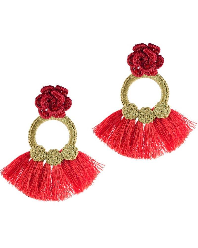 Tantra Teresa Knit Rose Fringe Earrings
