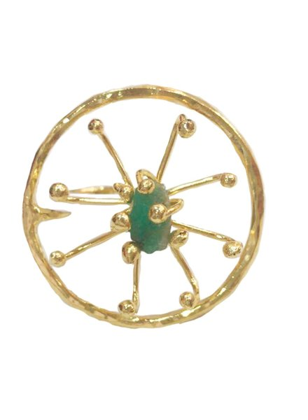 Tantra Ring Double Pistilo Circle Emerald