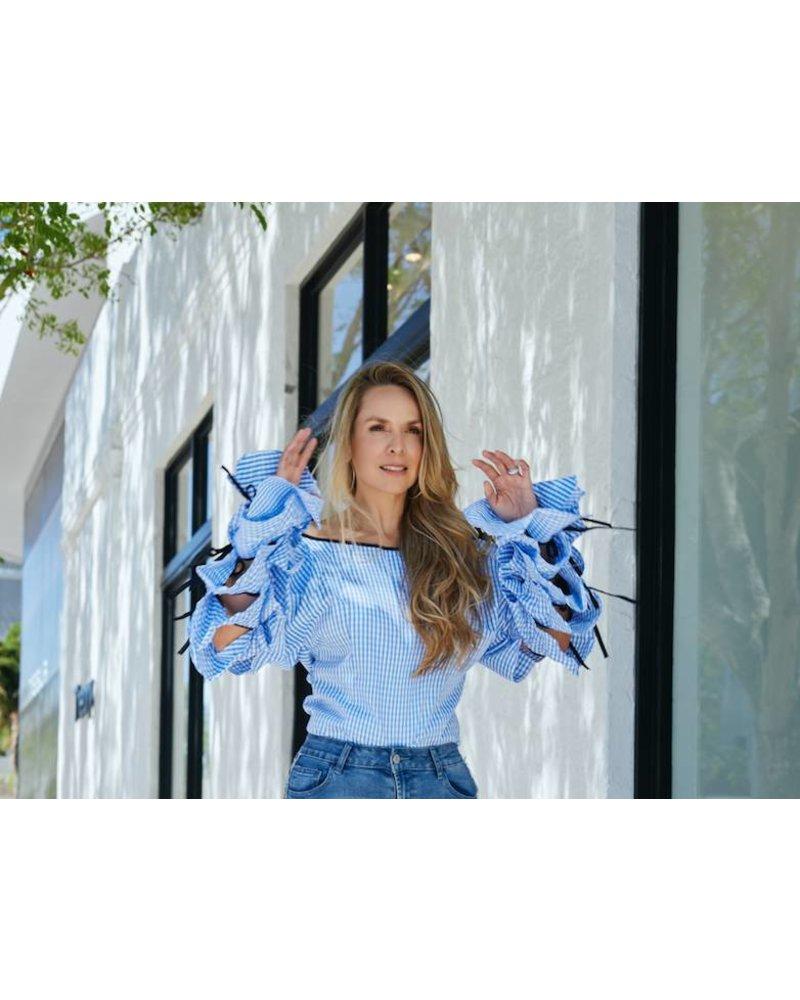 Emerging Designers Henriqueta Blue Gingham Long Sleeve Top
