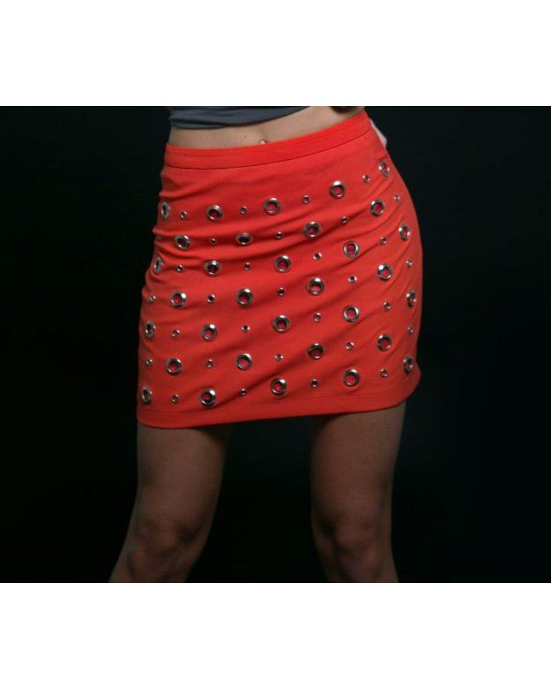Emerging Designers Roxie Orange Eyelet Mini Skirt
