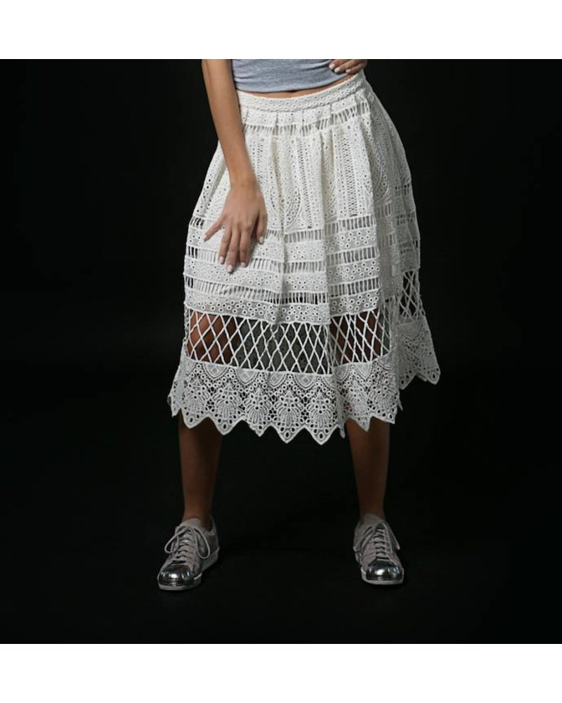 Emerging Designers Lani White Lace Skirt