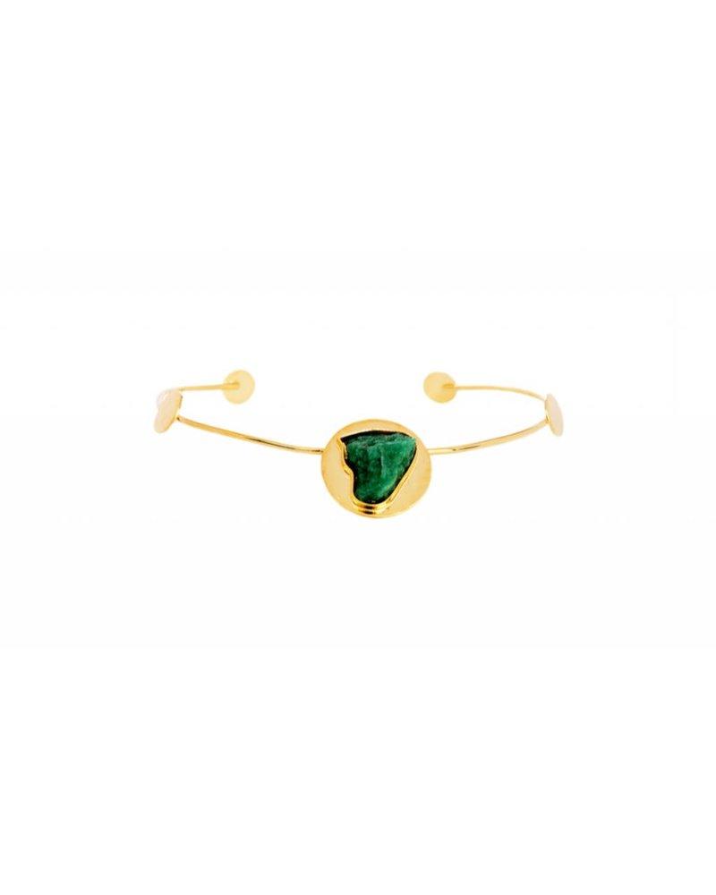 TAO CHOKER - Debra 24k Gold  With Emerald Accent