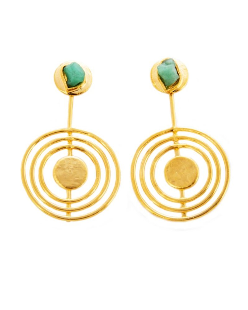 TAO Cleo 24k Gold Earrings with Emeralds