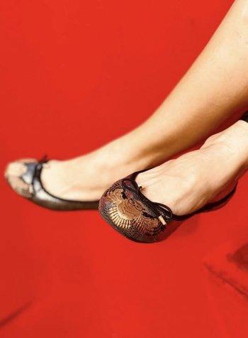 Vida Leather Luxury Owl Ballerina Flats