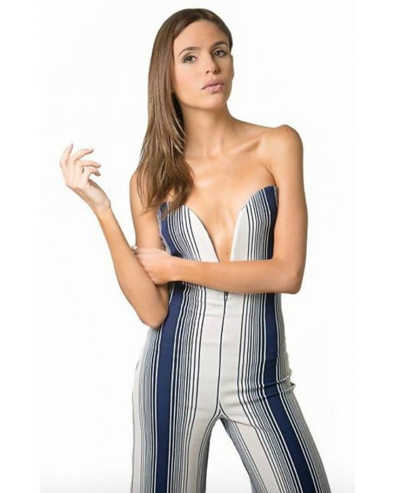 Emerging Designers Karen Strapless White And Navy Striped Jumpsuit