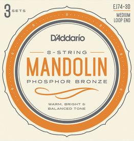 D'Addario D'Addario 3-Pack Mandolin Phosphor Bronze Med 11-40