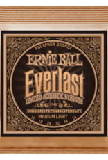 Ernie Ball Everlast Medium Light Coated Phosphor Bronze Acoustic Guitar Strings 12-54