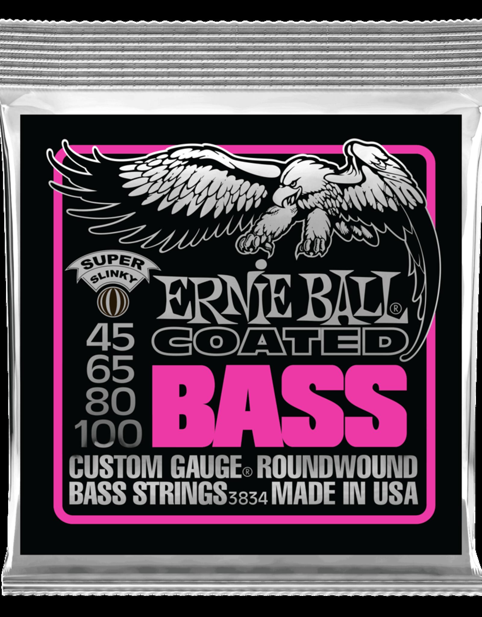 Ernie Ball Super Slinky Coated Electric Bass Strings, 45-100
