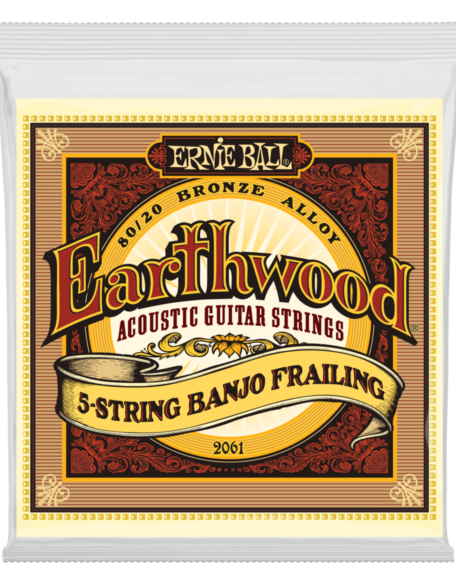 Ernie Ball Earthwood 5-String Banjo Frailing Loop End 80/20 Bronze Acoustic Guitar Strings