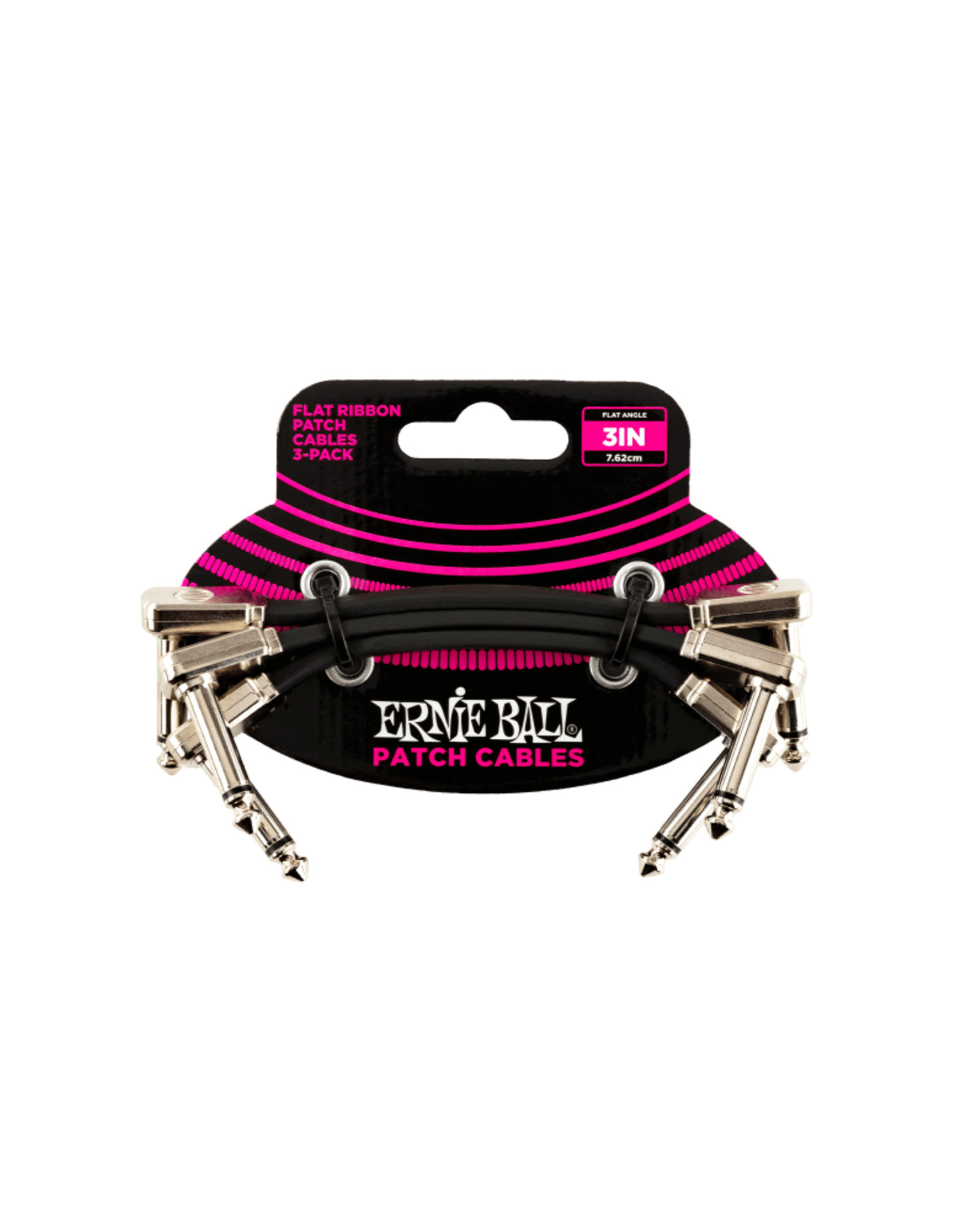 "Ernie Ball Ernie Ball 12"" Flat Ribbon Patch Cable 3-Pack"