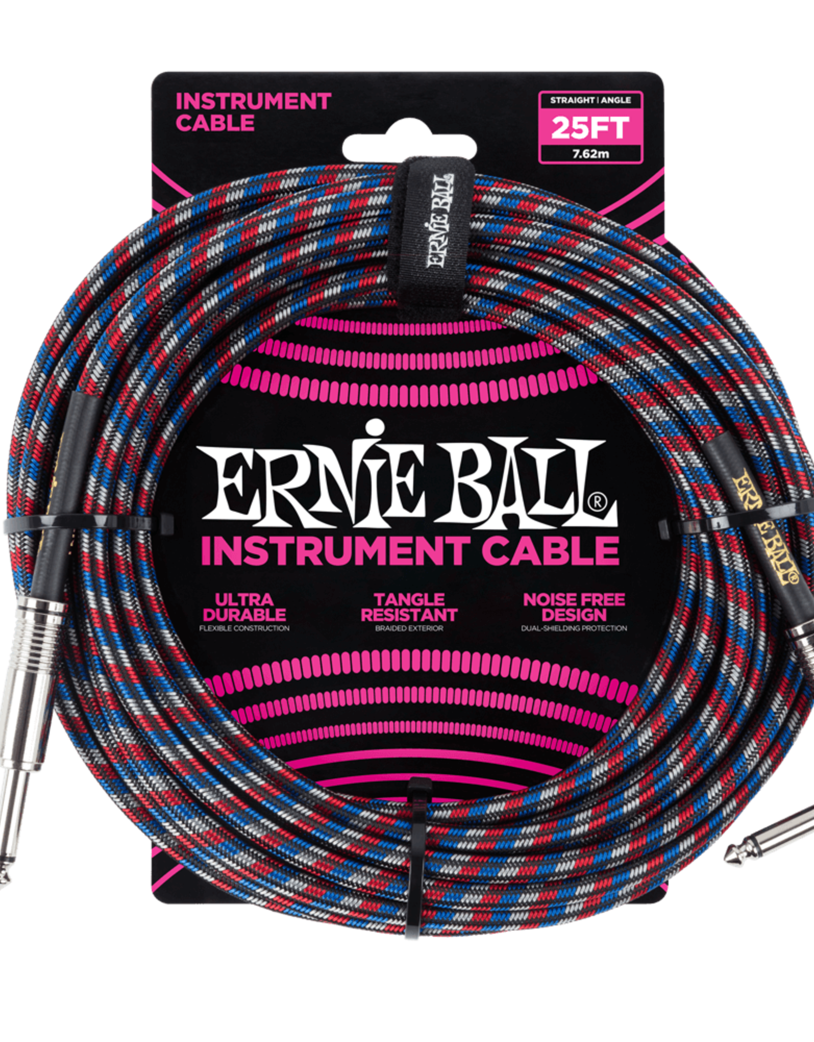 Ernie Ball Ernie Ball 25' Braided Instrument Cable - Red, White, and Blue