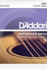 D'Addario D'Addario EJ26 Phosphor Bronze Custom Light Acoustic Strings 11-52