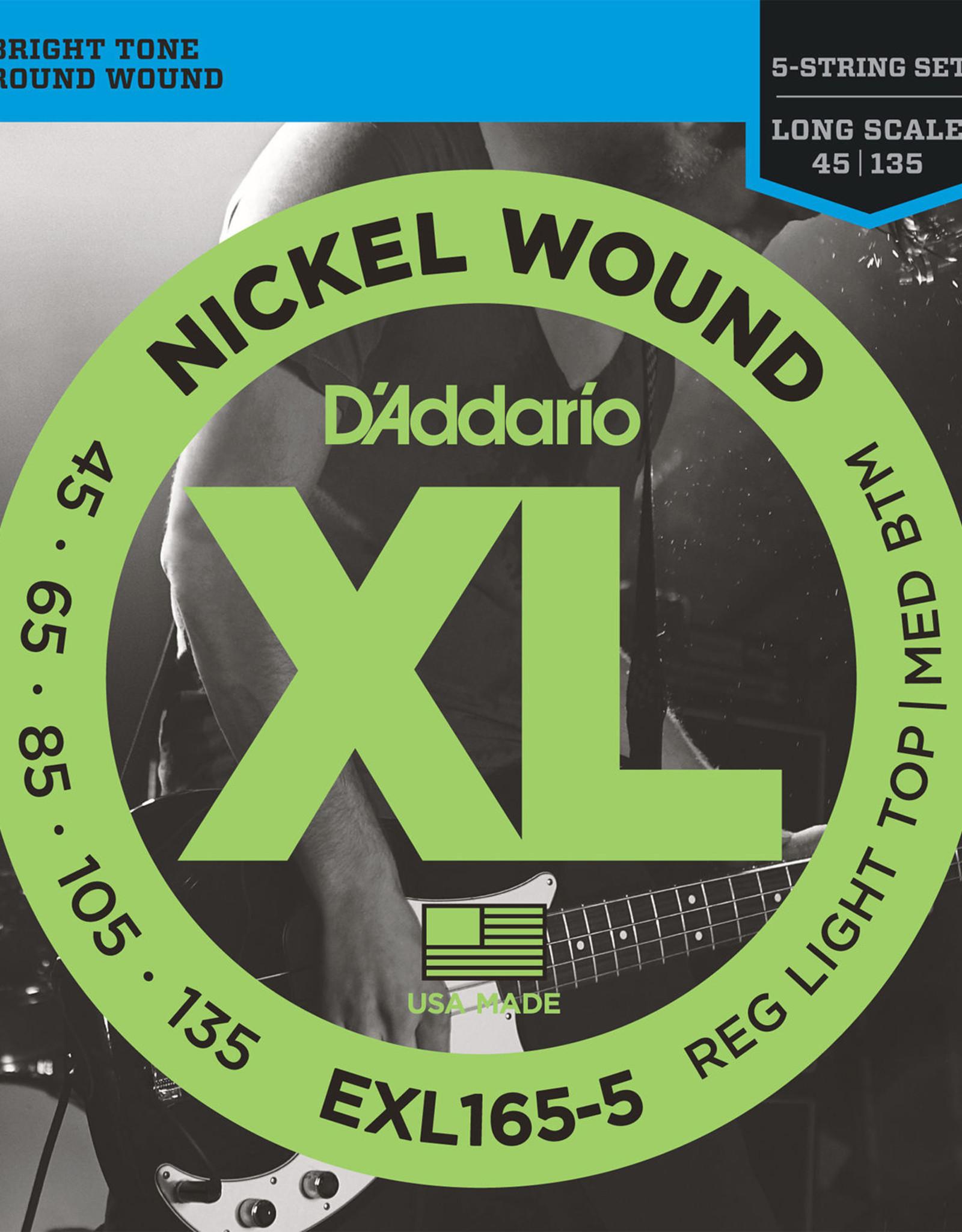 D'Addario D'Addario EXL165-5 Nickel Reg. Light Bottom, Medium Top 5 String Bass 45-135