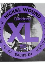 D'Addario D'addario EXL115 3-Pack Electric Guitar Strings