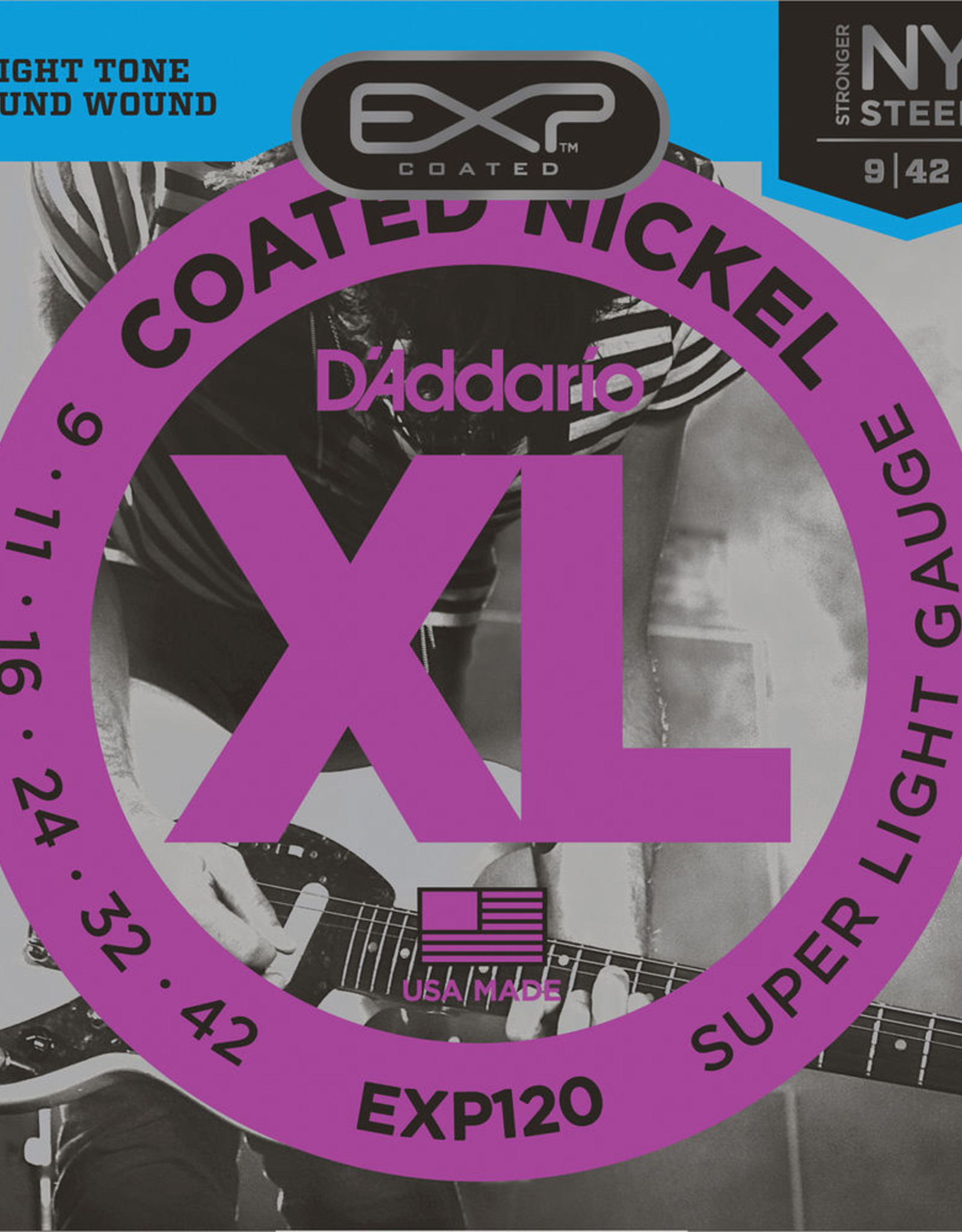 D'Addario D'Addario EXP120, 9-42 Coated Electric Guitar Strings Extra Light