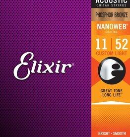 ELIXIR Elixir Phosphor Bronze Custom Light Nanoweb Strings .011-.052