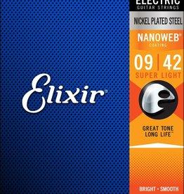 ELIXIR Elixir Nanoweb Electric Plated Steel Super Lights, .09-.42