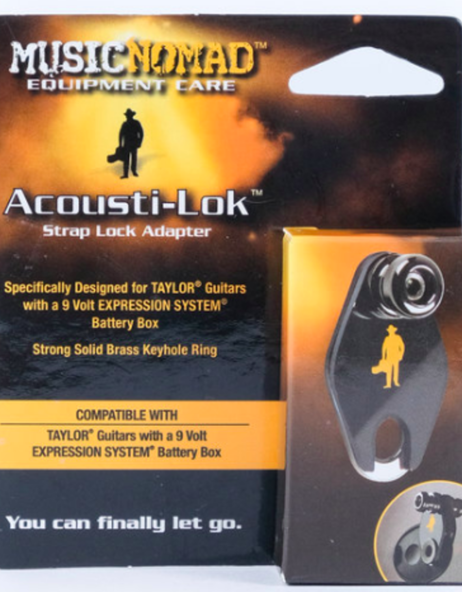 MUSIC NOMAD Acousti-Lok Strap Lock Adapter for TAYLOR® Guitars with a 9 Volt EXPRESSION SYSTEM® Battery Box