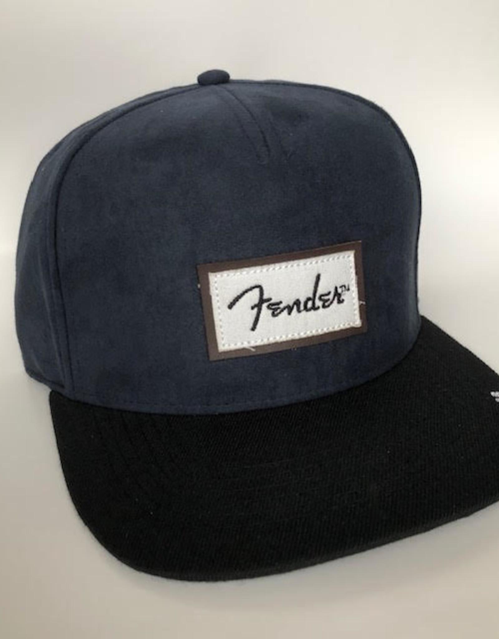 Fender Fender Suede Patch Logo Snapback Hat, Black and Blue