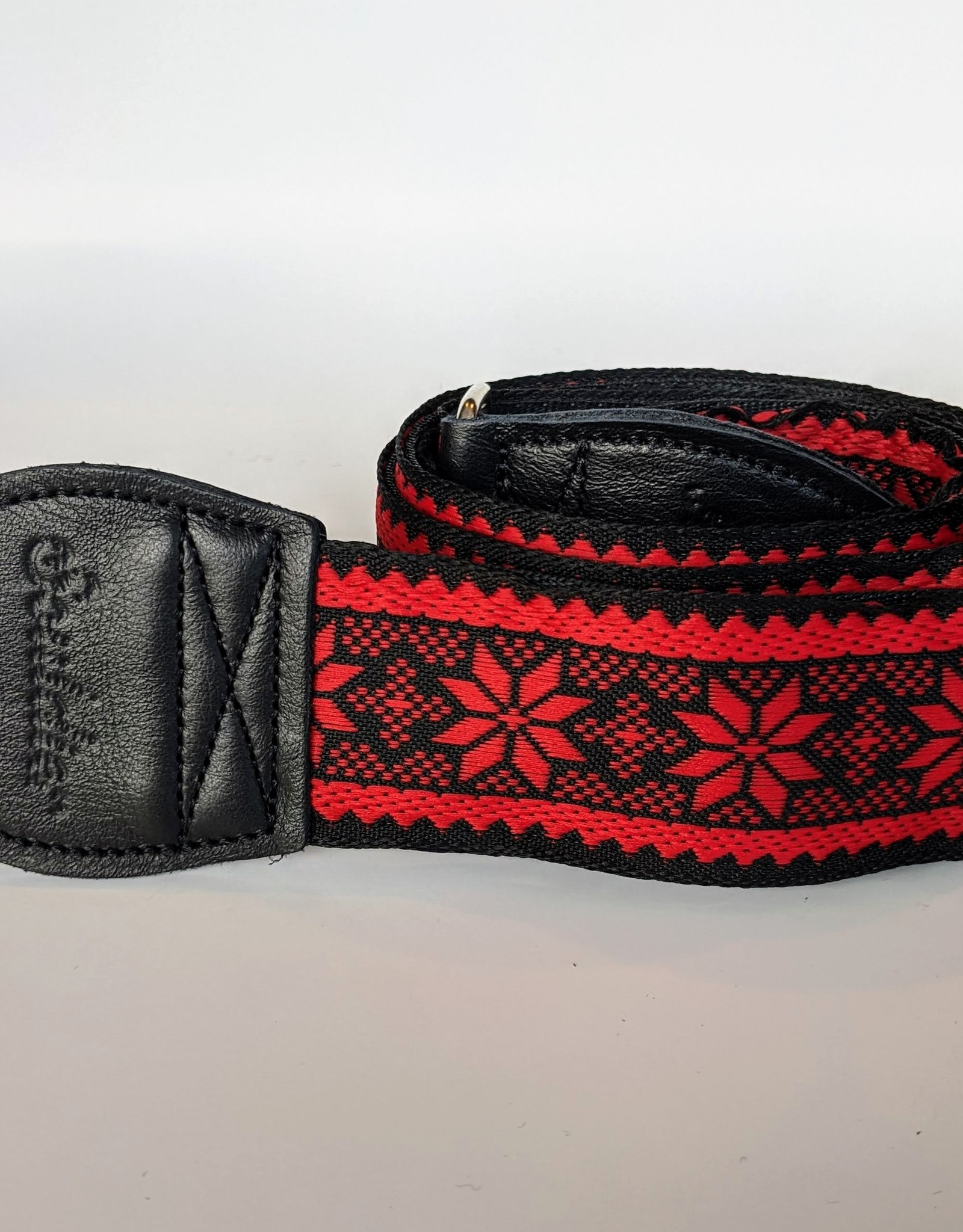 Souldier Souldier Poinsettia Red on Black, Vintage Fabric Guitar Strap