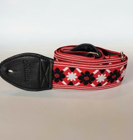 Souldier Souldier Tulip Black Flower/White Star on Red, Vintage Fabric Guitar Strap