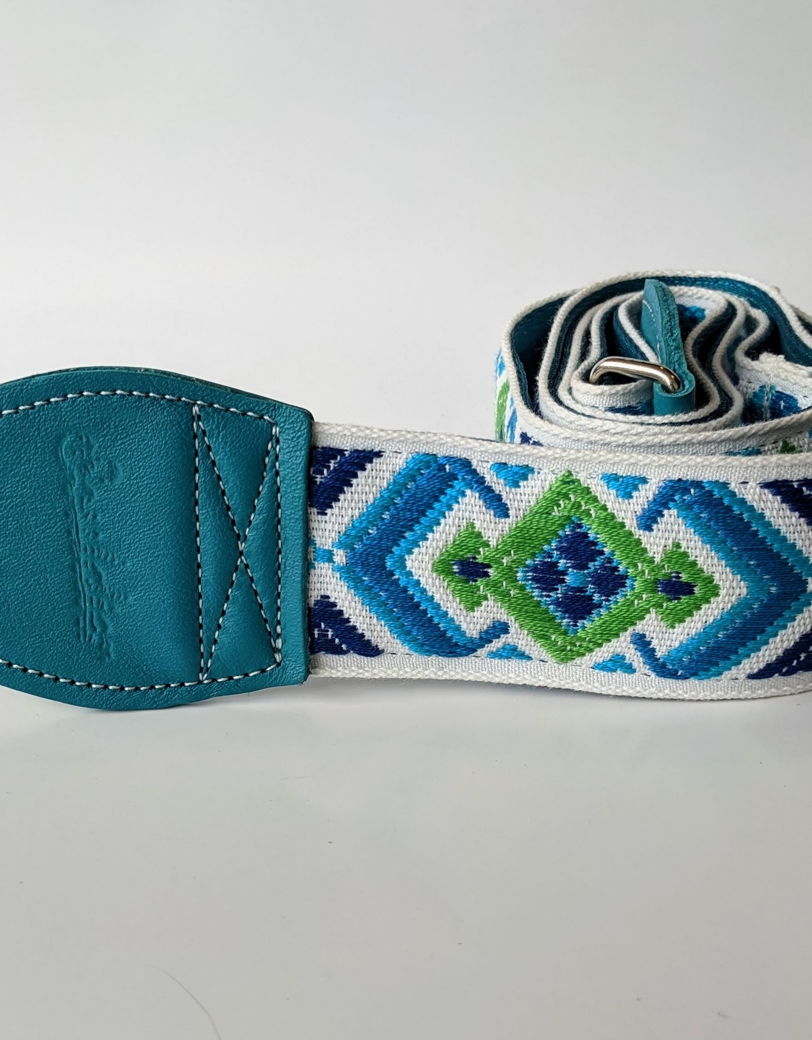 Souldier Souldier Diamante White/Green/Blue, Vintage Fabric Guitar Strap