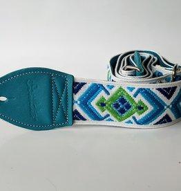 Souldier Souldier Diamante White/Green/Blue, Vintage Fabric Guitar Strap