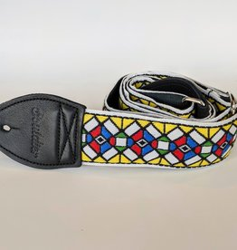 Souldier Souldier Stained Glass Yellow, Vintage Fabric Guitar Strap