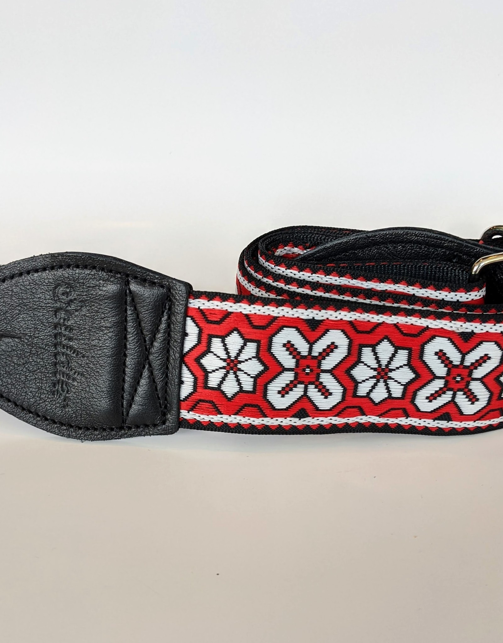 Souldier Souldier Greenwich White on Red, Vintage Fabric Guitar Strap