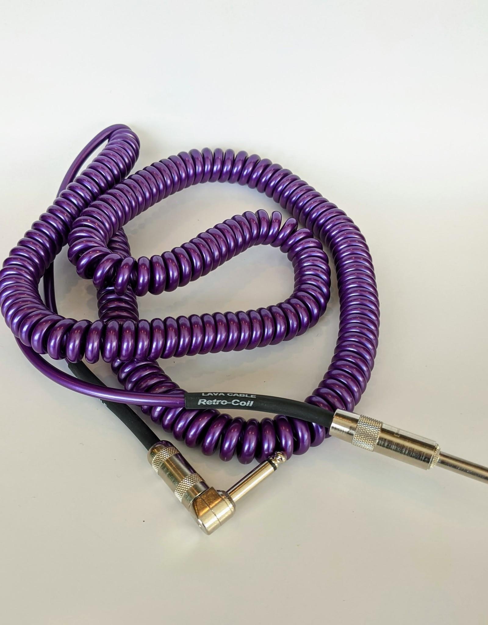 """Lava Lava """"Retro Coil"""" Instrument Cable - 20' Straight to Right (Metallic Purple)"""