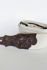 "Franklin Straps Franklin 2"" Natural Cotton/Embossed Chocolate Suede End Tab Guitar Strap"