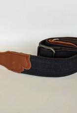 Franklin Straps Blue Distressed Denim/Cognac Leather End Tab Guitar Strap