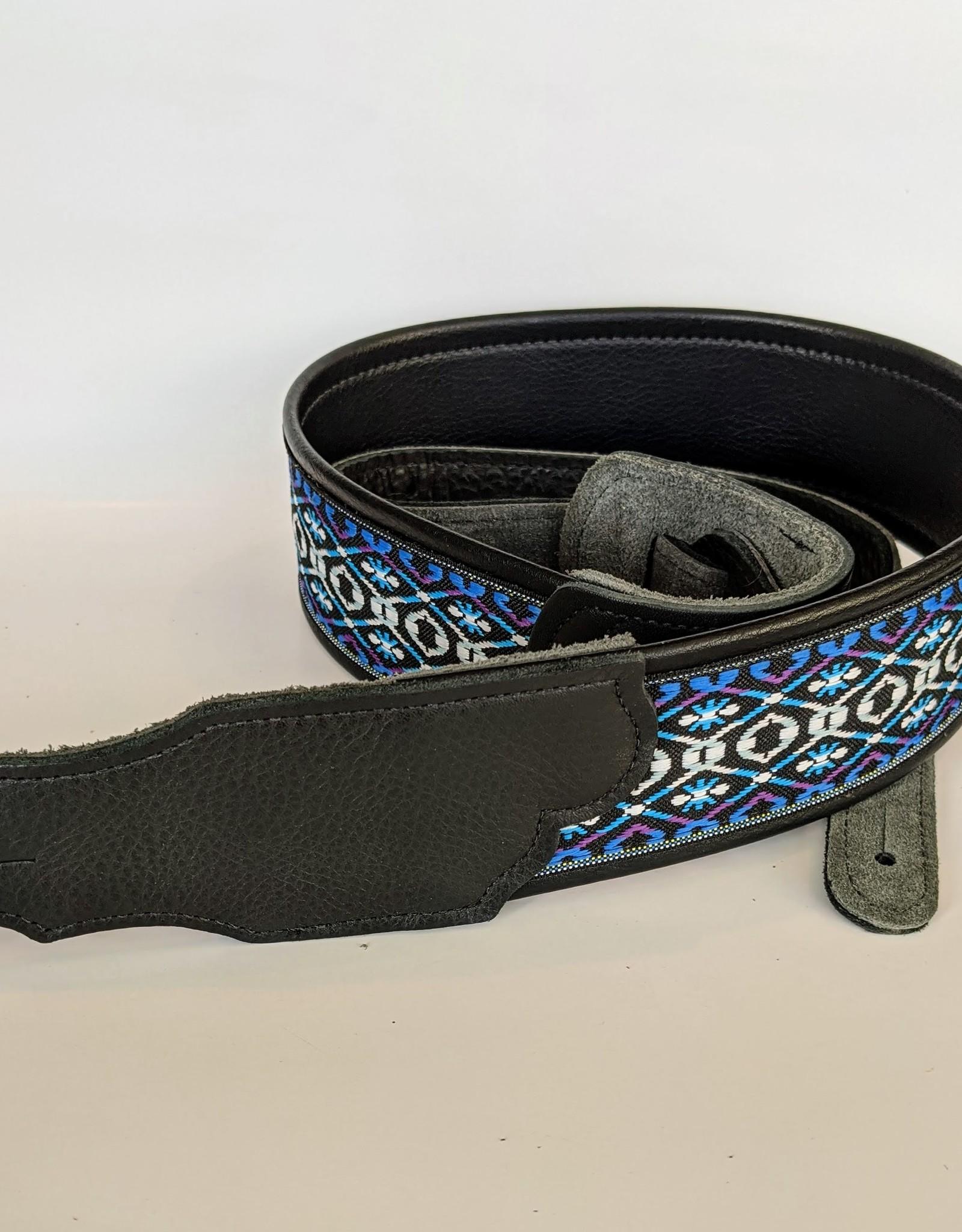 Franklin Straps Blue/Purple Retro Deluxe Jacquared/Fauz Leather back Guitar Strap