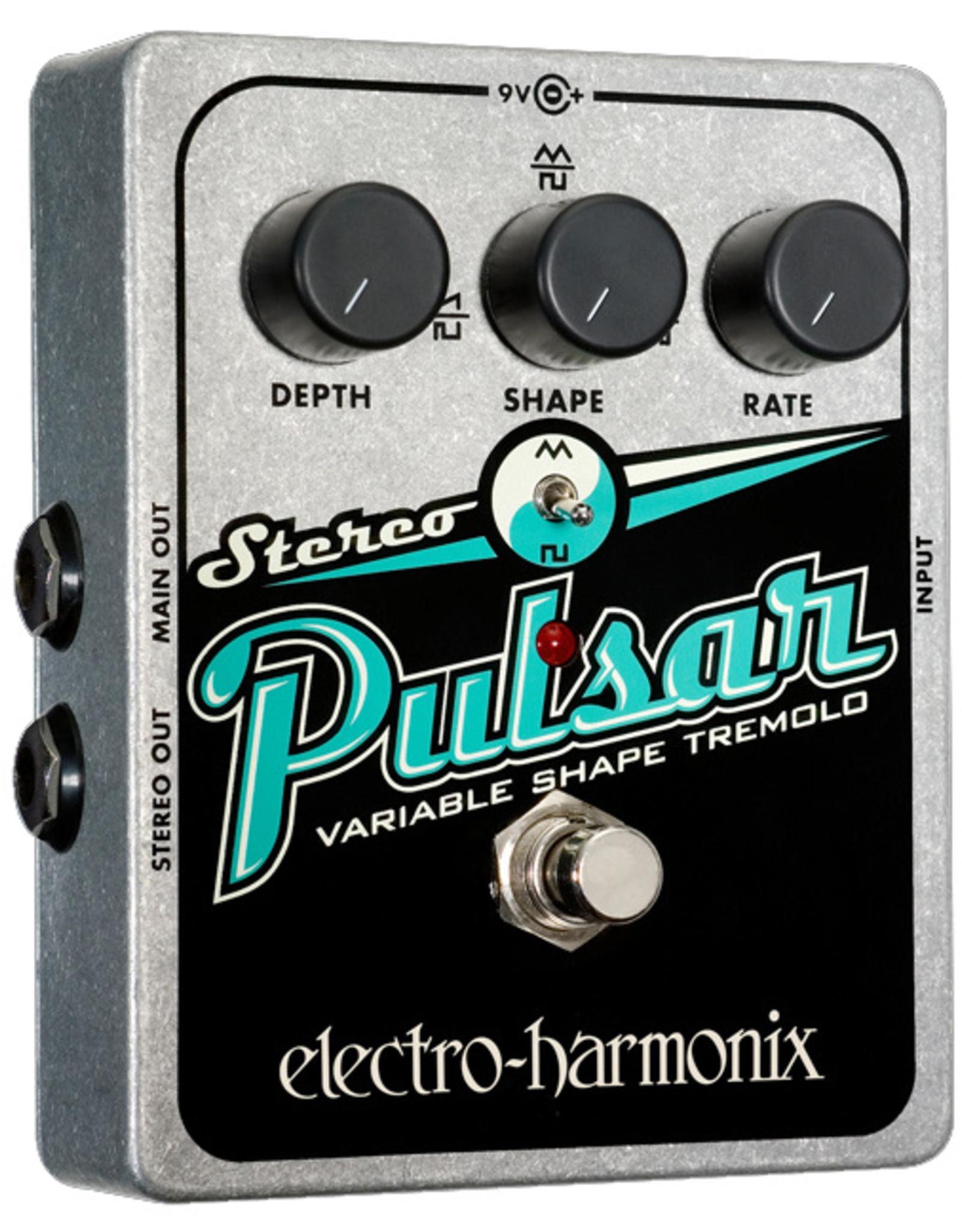 Electro-Harmonix EHX Stereo Pulsar Variable Shape Analog Tremolo Battery included, 9.6DC-200 PSU optional