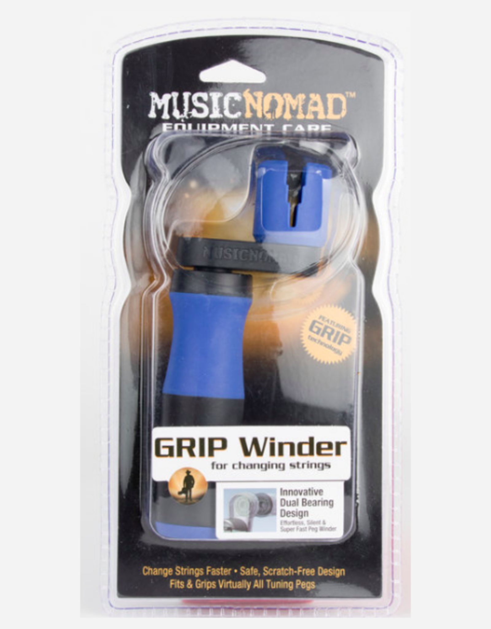 """MUSIC NOMAD GRIP Winder - Rubber Lined, Dual Bearing Peg Winder 5"""" x 2"""""""