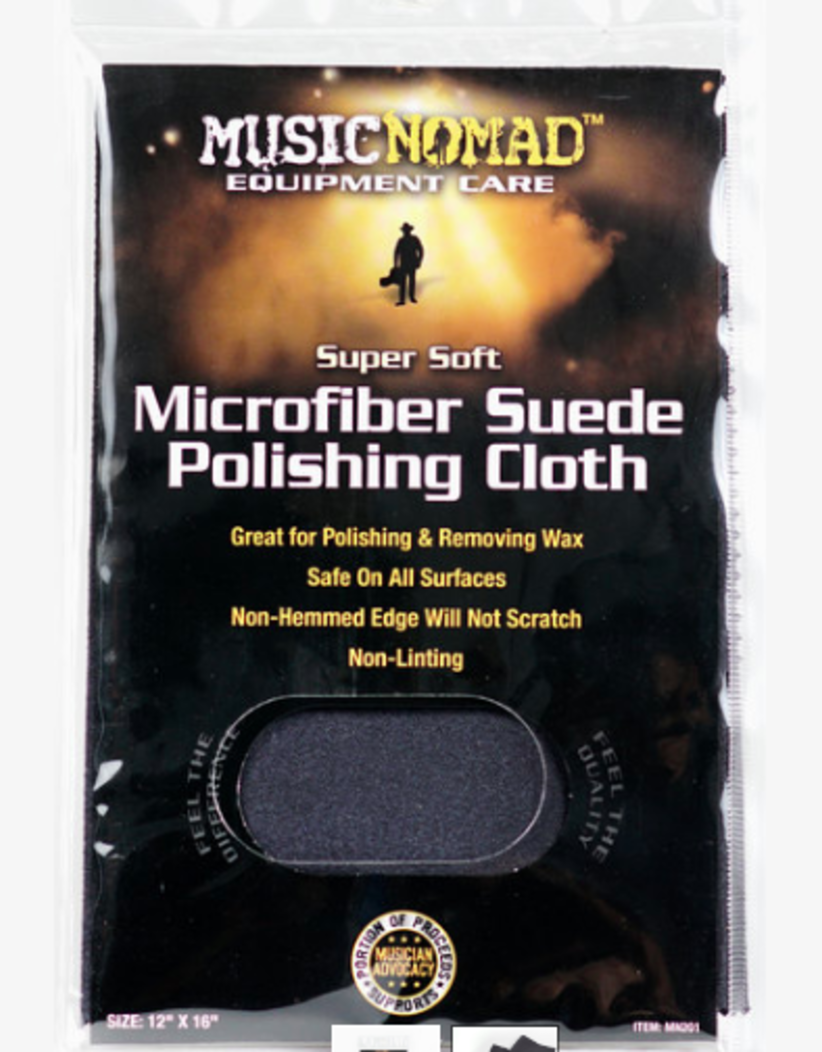 "MUSIC NOMAD Music Nomad Super Soft Edgeless Microfiber Suede Polishing Cloth 12"" x 16"""