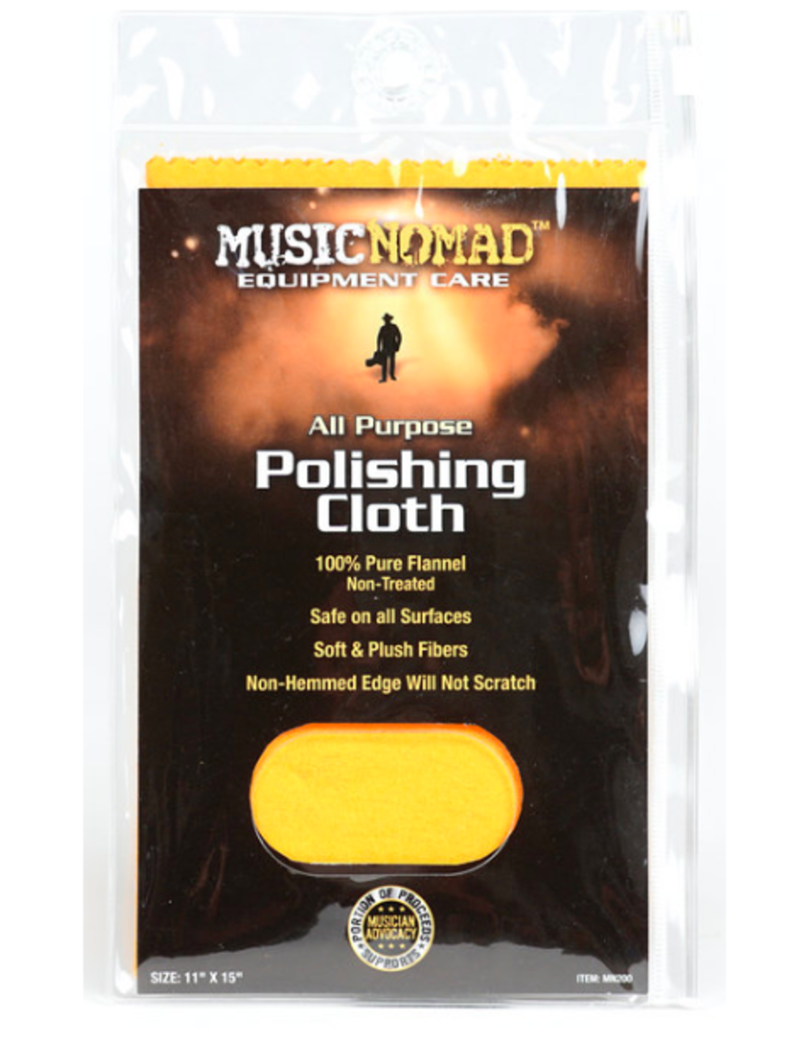 """MUSIC NOMAD Music Nomad All Purpose Edgeless 100% Pure Flannel Non-Treated Polishing Cloth 11"""" x 15"""""""